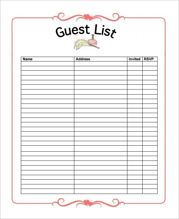 10+ Party Guest List Templates - Word Excel Pdf Formats with Party Guest List Template 24192