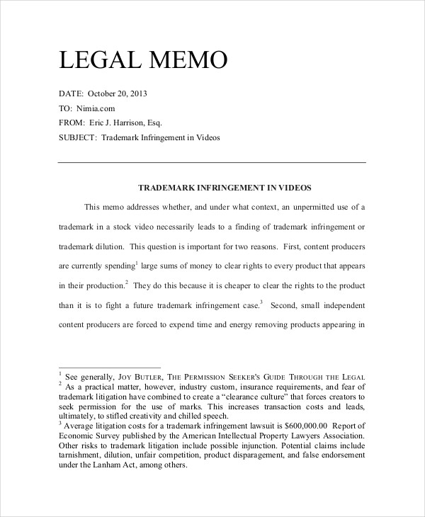 11+ Legal Memo Examples, Samples with Law Memorandum Format 23176