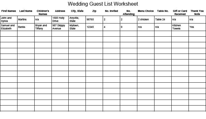 17 Wedding Guest List Templates - Excel Pdf Formats pertaining to Wedding Guest List Template Excel 24232