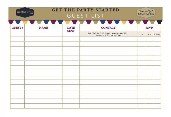Birthday Guest List Template  Examples And Forms