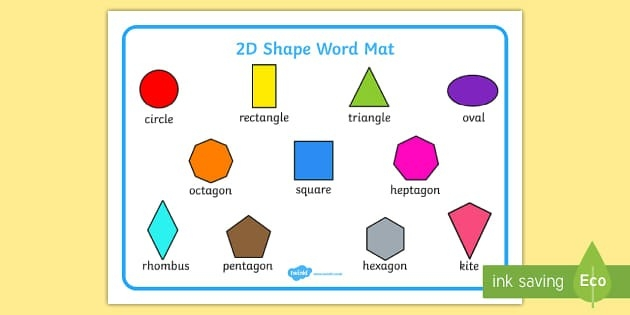 2D Shape Word Mat - Word Mat, Writing Aid, 2D Shape Names, Shape within 2D Shapes Names 19352