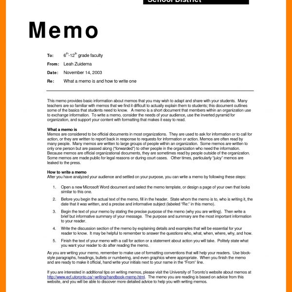 Business Memo Format Examples  Report Examples Regarding Memo