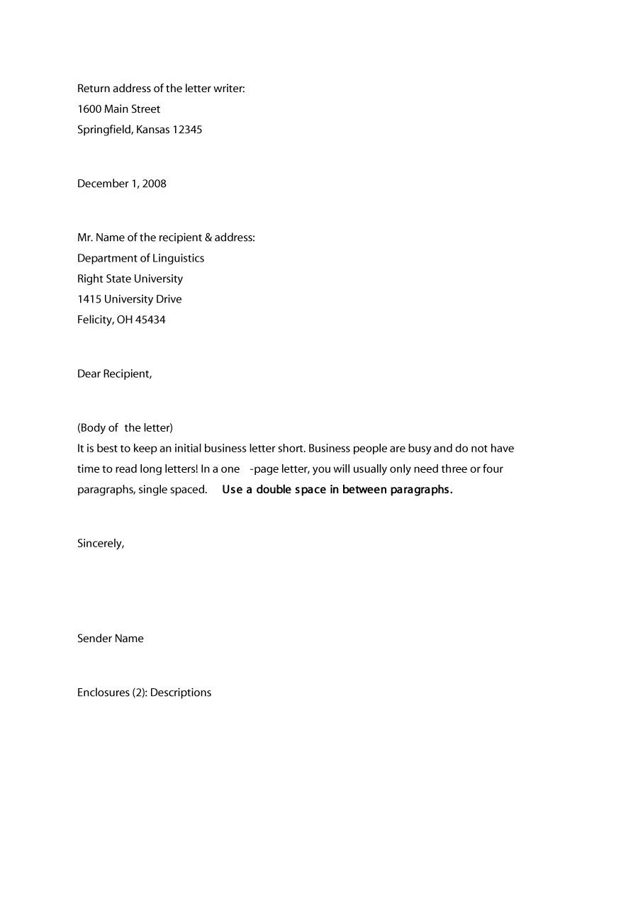 35 Formal / Business Letter Format Templates & Examples - Template Lab intended for Formal Business Letter Format Example 21801