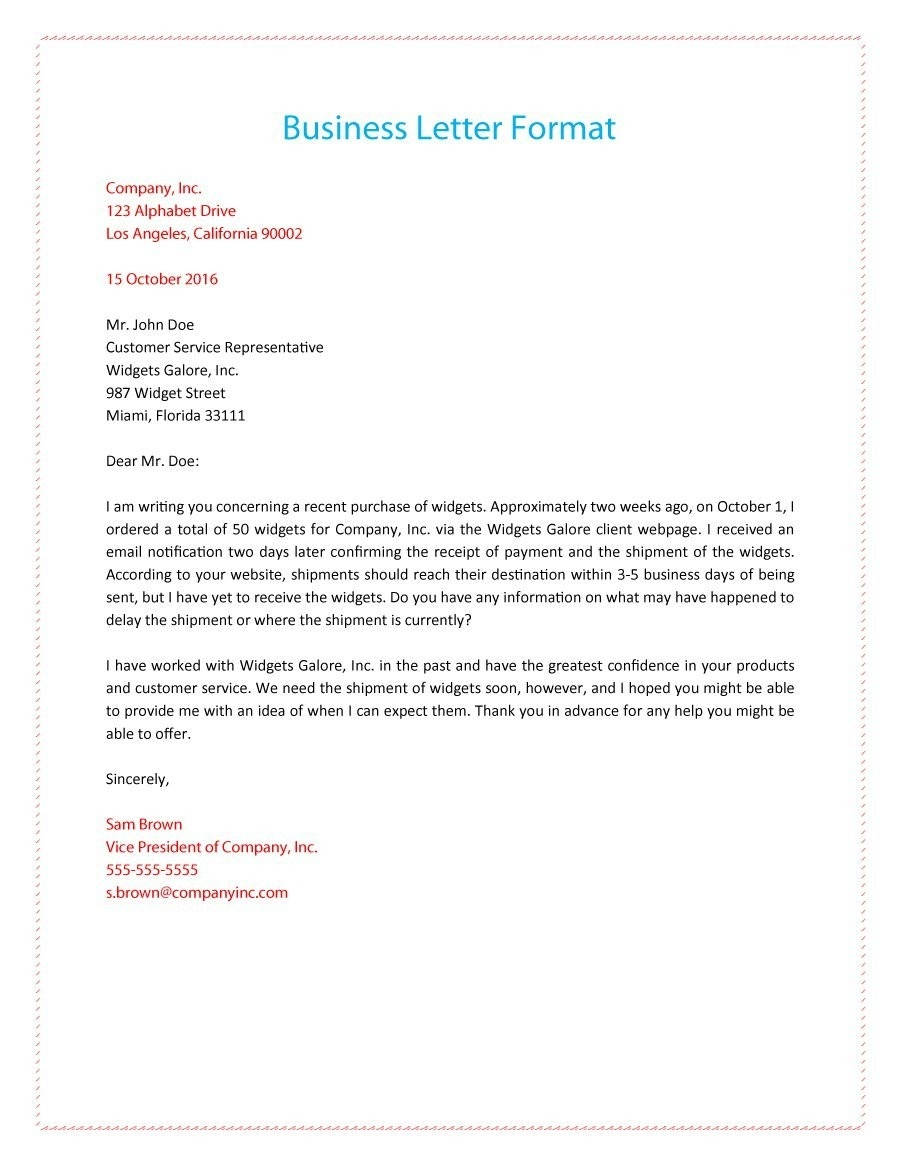 35 Formal / Business Letter Format Templates & Examples - Template Lab with regard to Business Letter Format 19936