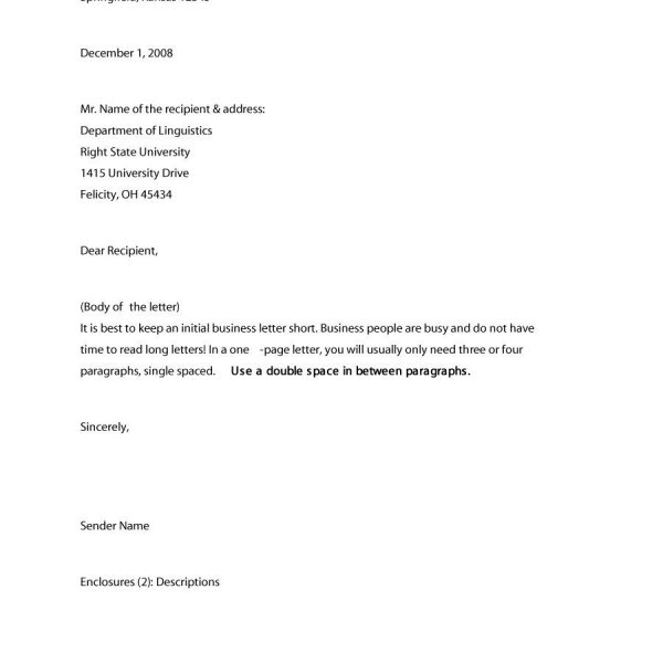 Formal  Business Letter Format Templates  Examples  Template
