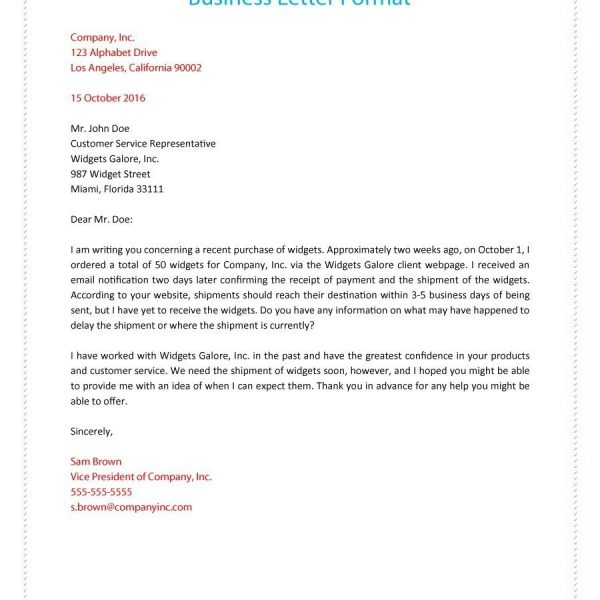 35 Formal Business Letter Format Templates Examples Template