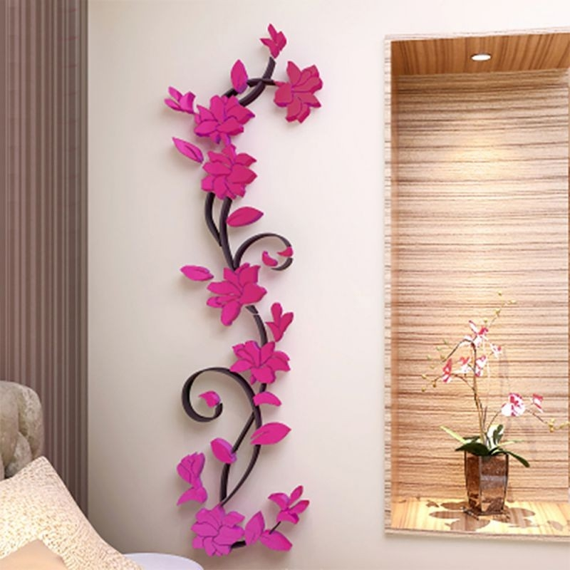 3D Flower Beautiful Diy Mirror Wall Decals Stickers Art Home Room regarding 3D Flower Stickers 19362
