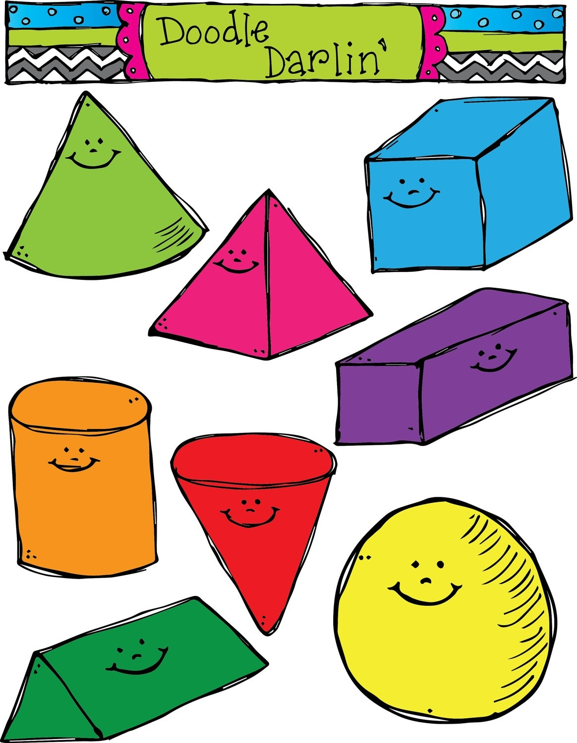 3D Shapes Clipart pertaining to 3D Shapes Clip Art 19543
