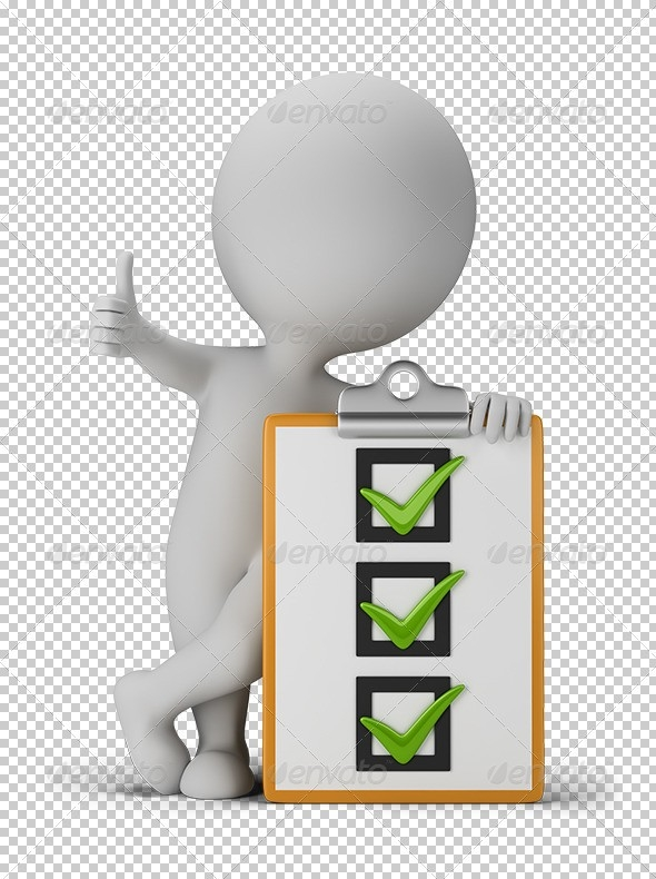 3D Small People With A Checklist By Anatolym | Graphicriver throughout Checklist Transparent 20378