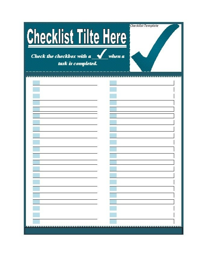 50+ Printable To Do List & Checklist Templates (Excel + Word) inside Checklist Template Word 20398