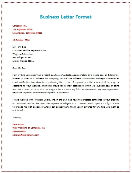 6 Samples Of Business Letter Format To Write A Perfect Letter In A regarding Business Letter Format 19936