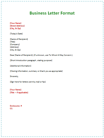 6 Samples Of Business Letter Format To Write A Perfect Letter regarding Formal Business Letter Format Example 21801