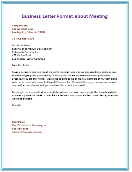 6 Samples Of Business Letter Format To Write A Perfect Letter within Business Letter Format 19936