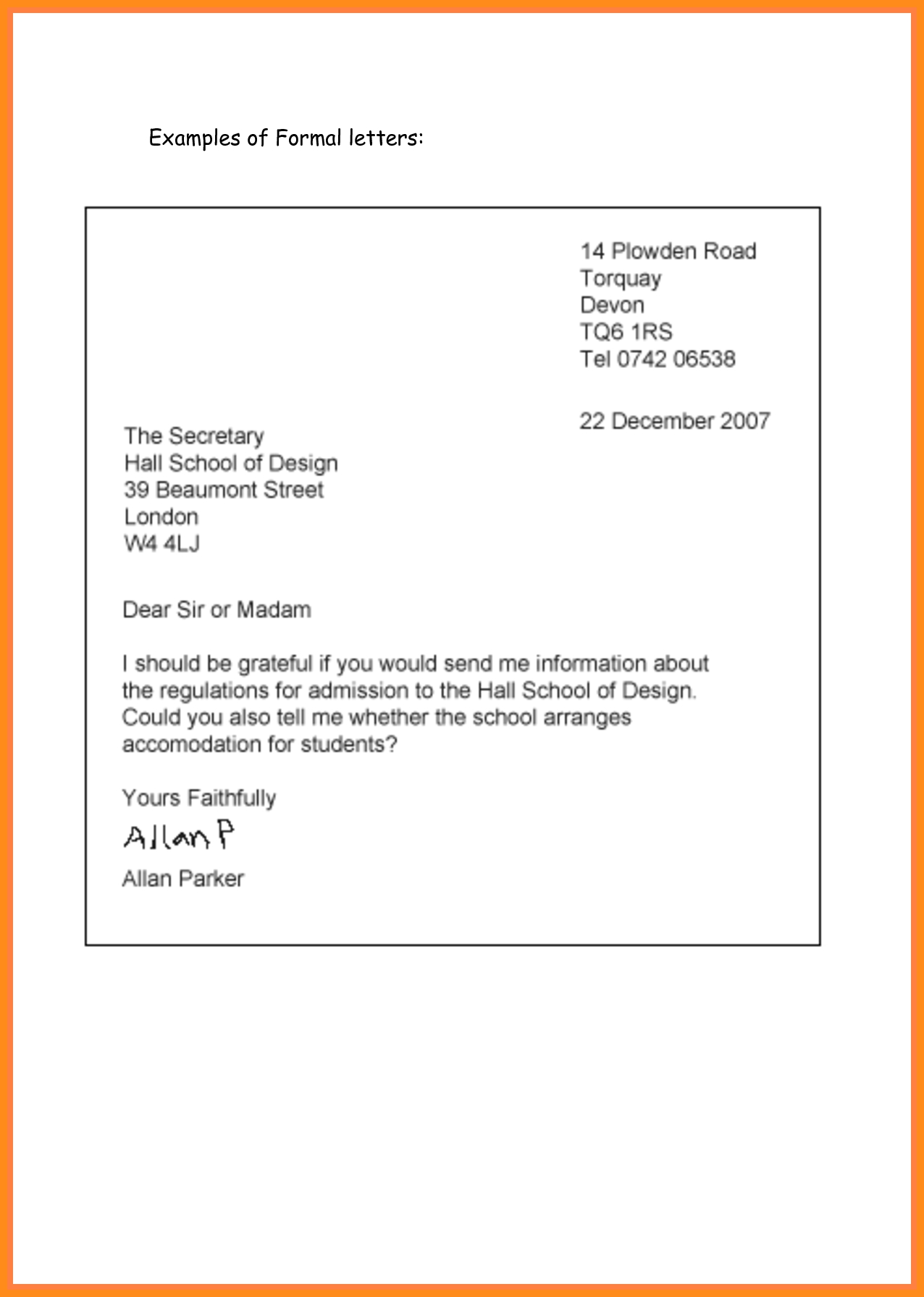 7+ Example Of Formal Letter Writing | Parts Of Resume regarding Formal Letter Format For School 21731