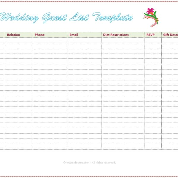 Free Wedding Guest List Templates And Managers For Guest List