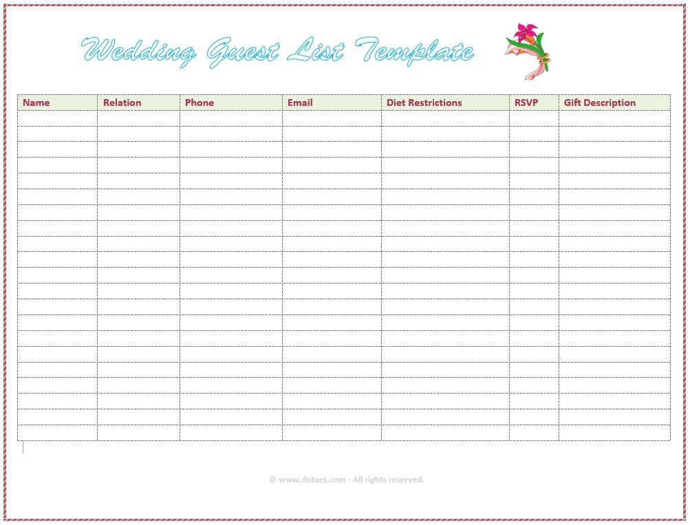 7 Free Wedding Guest List Templates And Managers for Guest List Template 22124