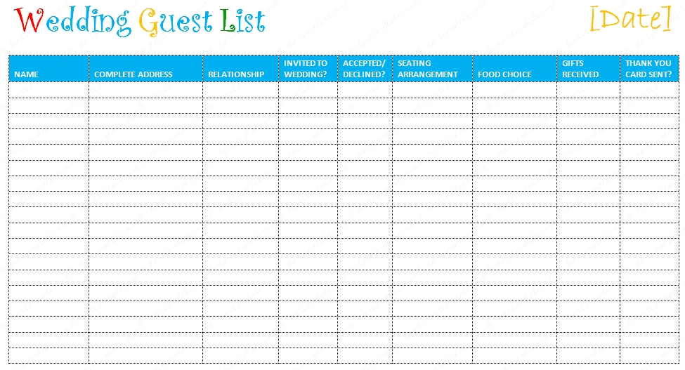 Printable Wedding Guest List Template  Examples And Forms