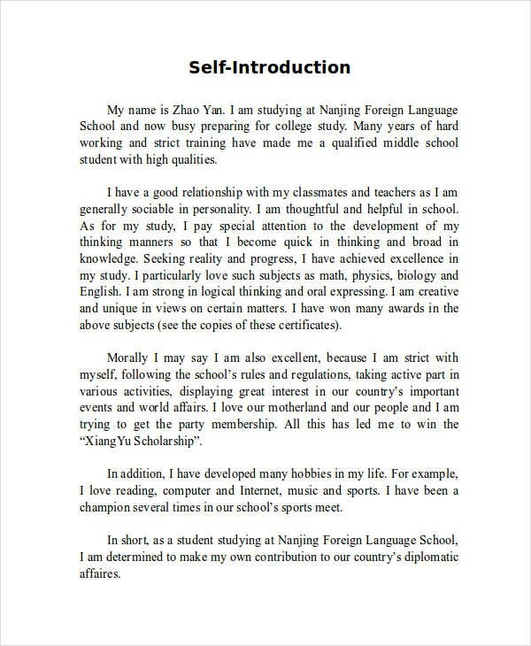 7+ Self-Introduction Essay Examples, Samples pertaining to Self Introduction Paragraph Example 21221