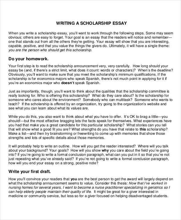 8+ Scholarship Essay Examples, Samples within Scholarship Essay Format 19996
