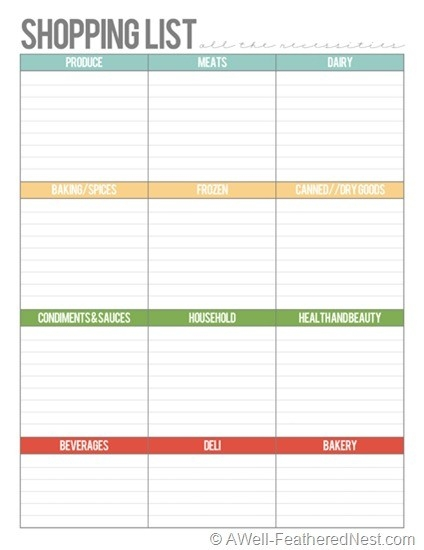 A Well-Feathered Nest: Plan Your Life: Printable Planning Pages throughout Office Shopping List Template 22114