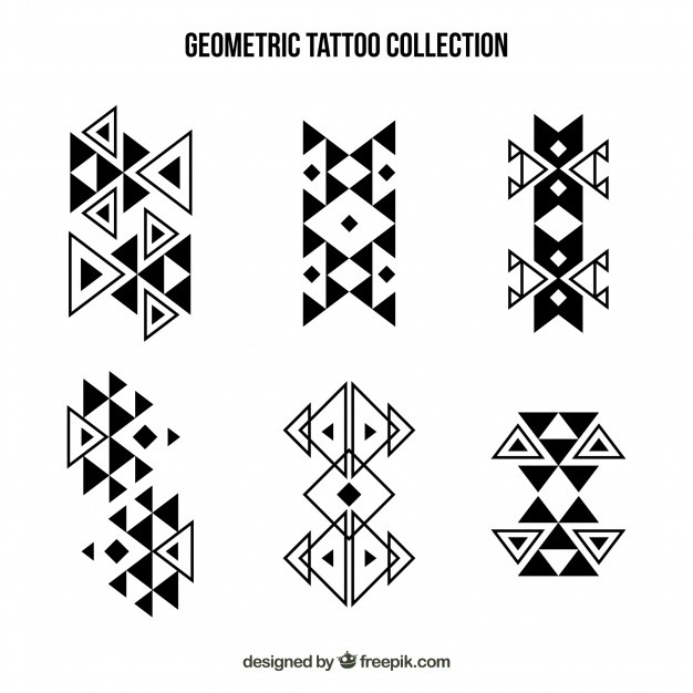 Abstract Geometric Shapes Tattoo Collection Vector | Free Download inside Geometric Shapes Design Tattoo 24513