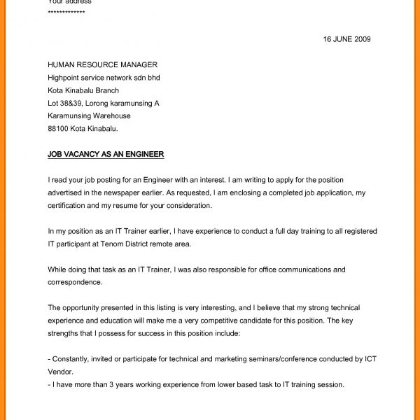 Application Letter For Job Vacancy  CUalwork Within