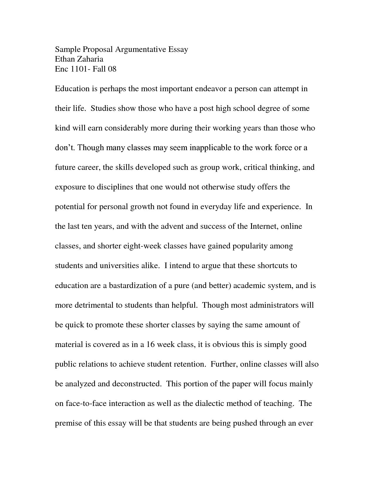 Argumentative Essay Examples College - Fieldstation.co in Argumentative Essay Format College 20981