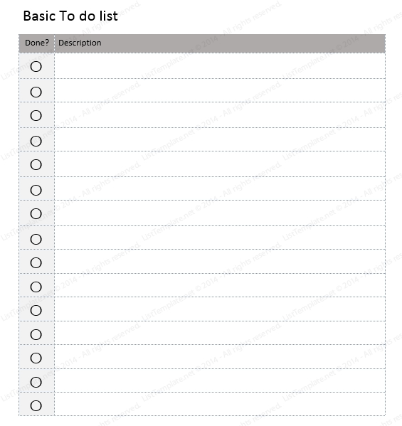 Basic To Do List Template (Checklist Format) - List Templates in Simple Checklist Template 24129