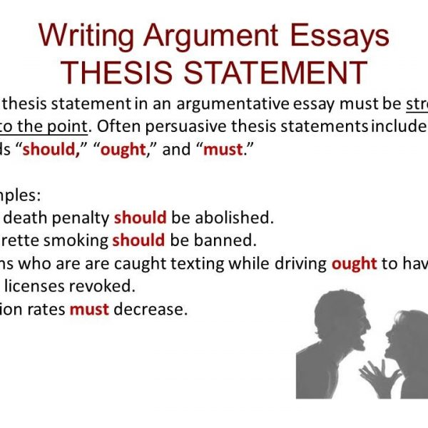 how to write an argument thesis statement Online writing lab a thesis statement for an argument essay does not always address a for more information on writing an effective thesis statement.