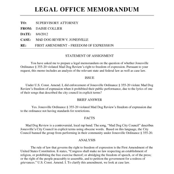 Best Photos Of Law Memo Template  Legal Office Memo Template In Law