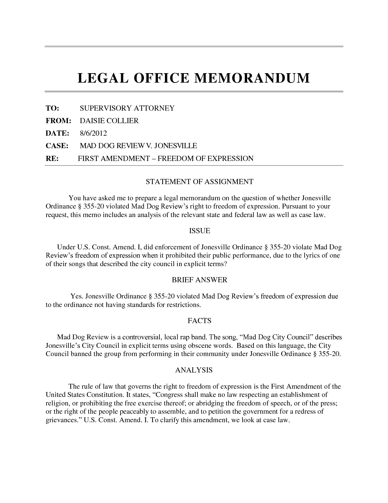 Best Photos Of Law Memo Template - Legal Office Memo Template in Law Memorandum Format 23176