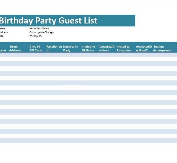 Birthday Party Guest List Template | Word & Excel Templates within ...