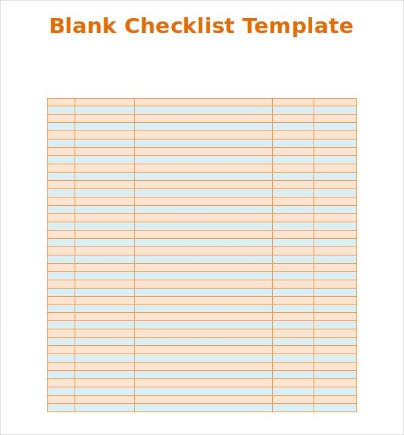 Blank Checklist Pdf | Examples and Forms