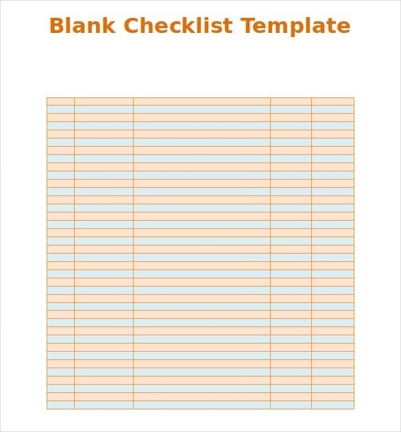 Blank Checklist Template | World Of Example for Blank Checklist 19021