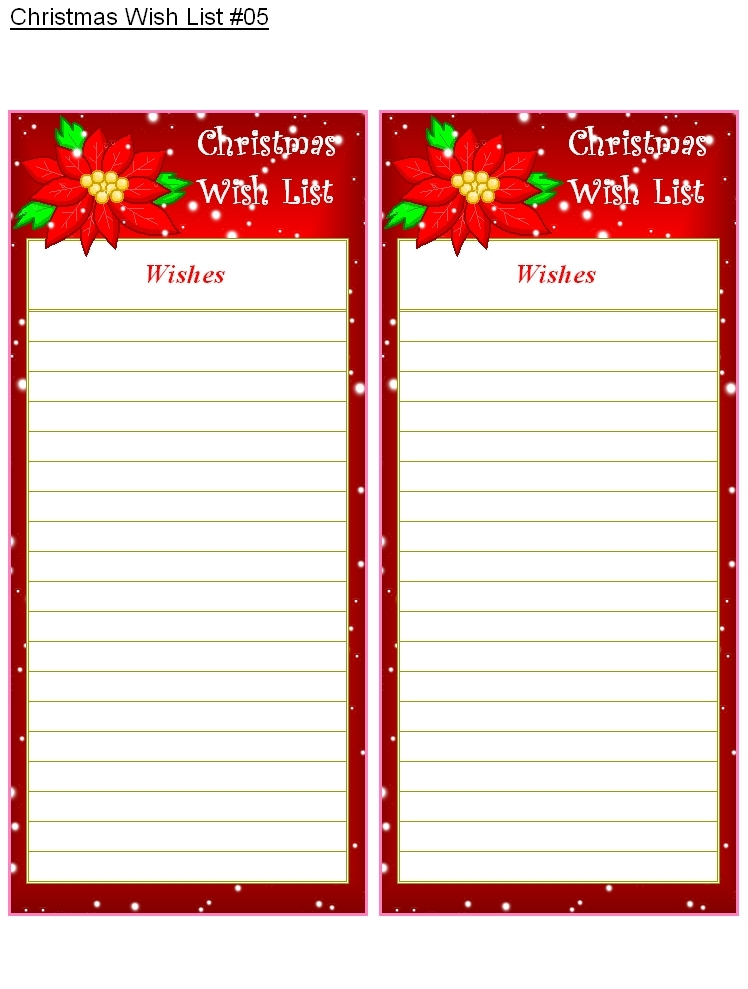Blank Christmas List Printable | World Of Example for Blank Christmas List Printable 19131