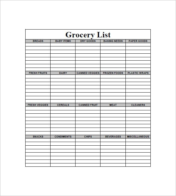 Blank Grocery List Template 8 Blank Grocery List Template Free throughout Blank Grocery List Pdf 19181
