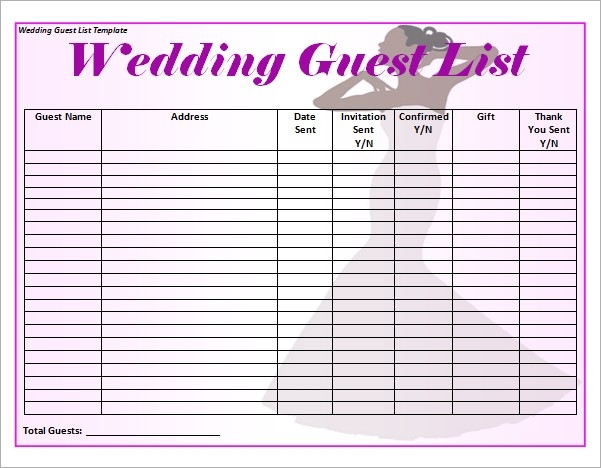 Blank Wedding-Guest-List-Template Word | Wedding | Pinterest throughout Simple Guest List Template 24212