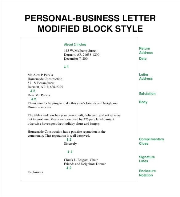 Block Style Business Letter Template Personal Business Letter for Personal Business Letter Format Block Style 21911