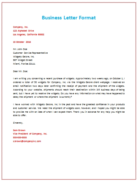 Business Letter Format About Shipment | Cosas Para Comprar | Pinterest inside Business Letter Format Example
