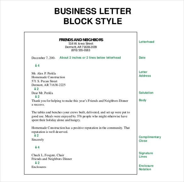 Business Letter Template Free Word Pdf Documents Format English
