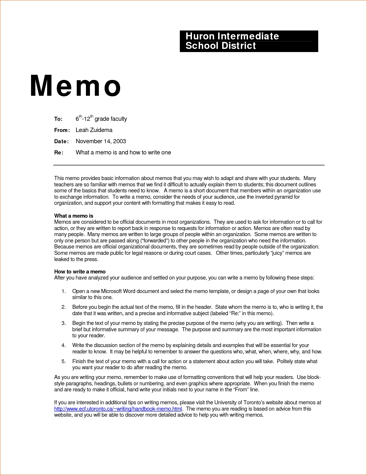 Business Memo Examples Inter Office Sample Wednesday May Template in Memo Format Headings 22554