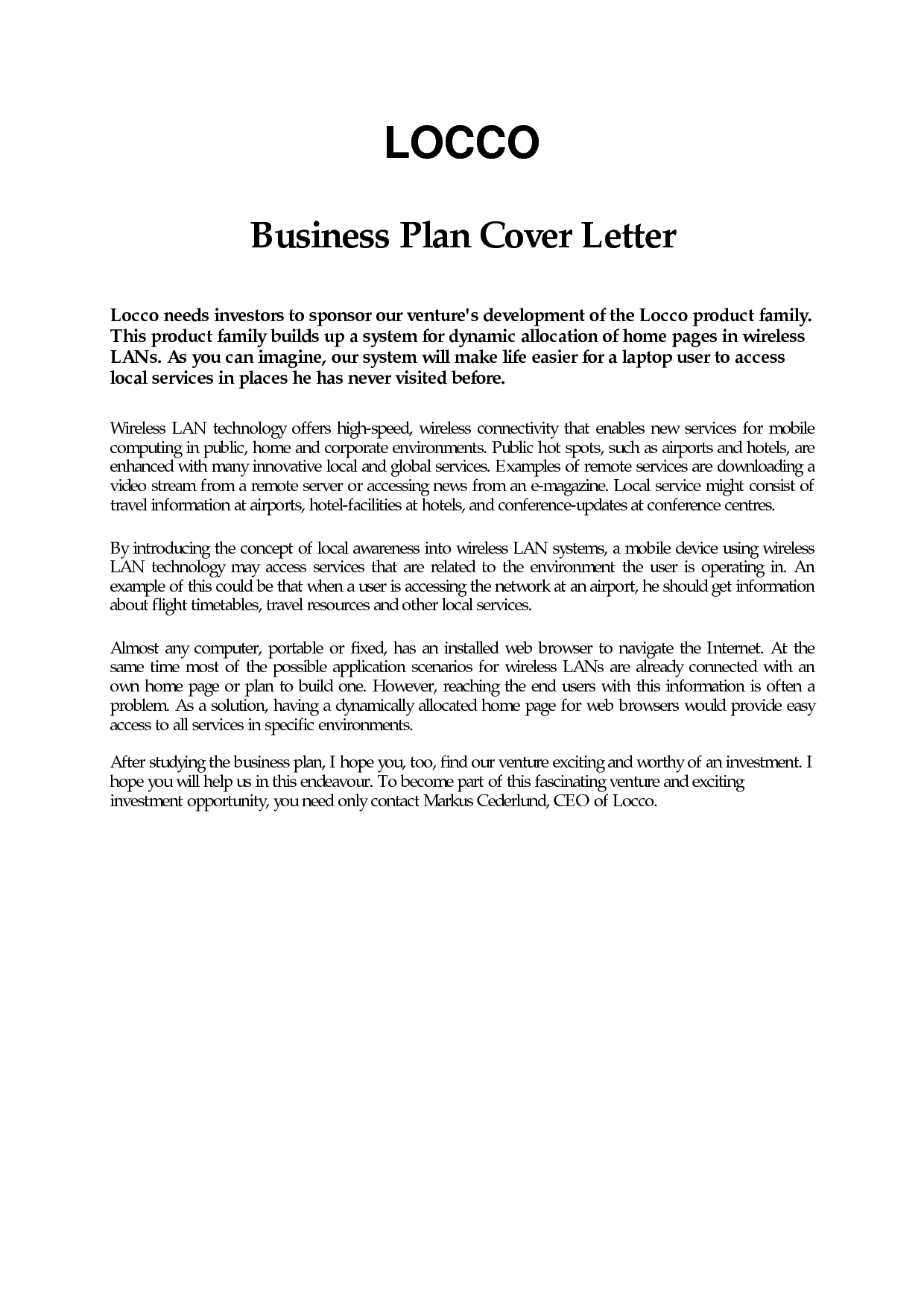 Business Plan Cover Letter Sample Free Example Page Examples in Business Proposal Cover Letter Format 22384