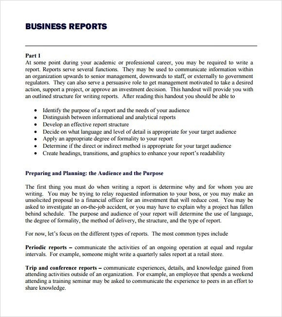 Business Report Format Template  Examples And Forms