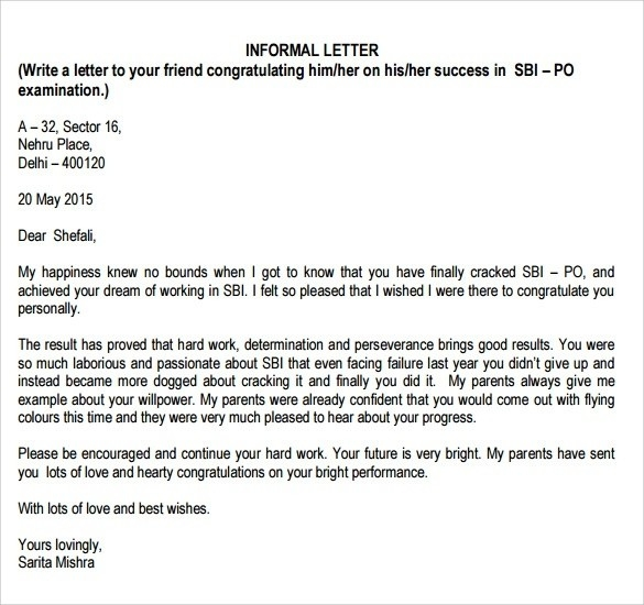 charming formal and informal letter sample pdf with additional with regard to informal friendly letter format