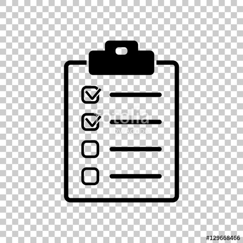 "Checklist Icon. Black Icon On Transparent Background."" Stock Image inside Checklist Transparent 20378"