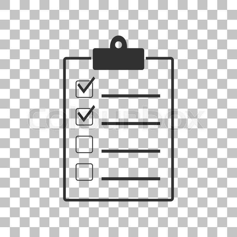 Checklist Sign Illustration. Dark Gray Icon On Transparent in Checklist Transparent 20378