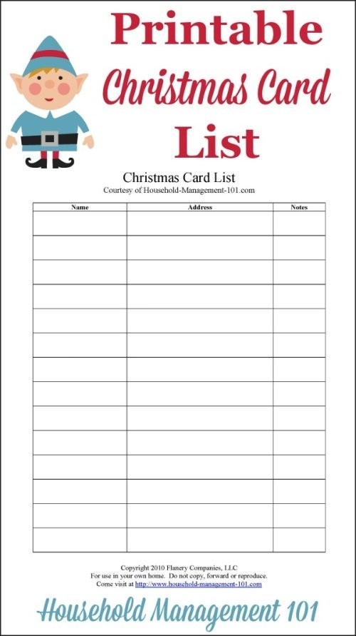 Christmas Card List Printable: Plan Who You'll Send Cards To This throughout Printable Christmas Card List 24323