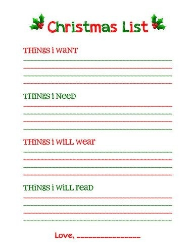 "Christmas List Free Printable--""something I Want, Something I Need with regard to Printable Christmas List Want Need Wear Read 24333"