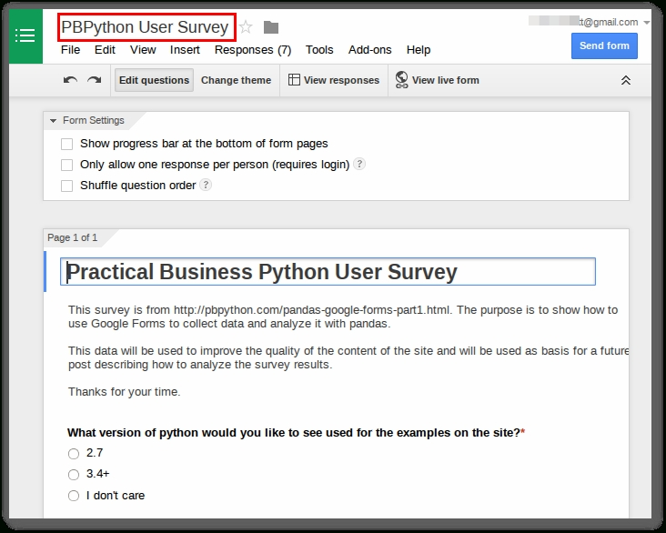 Collecting Data With Google Forms And Pandas - Practical Business with Google Forms Sample 24663