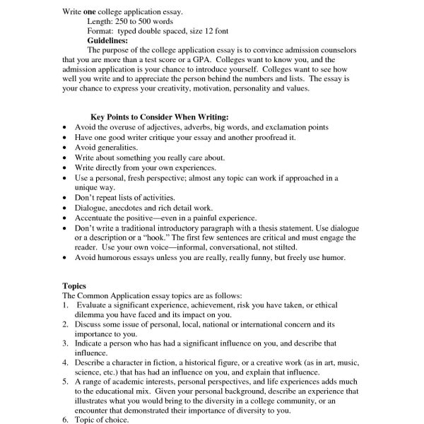 college admission essays format